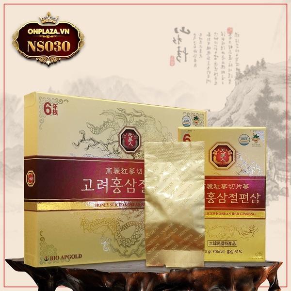 Hồng sâm thái lát tẩm mật ong 6 năm tuổi cao cấp Bio Apgold Hàn Quốc NS030