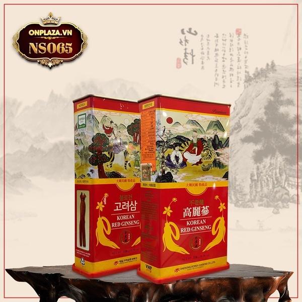 Hồng sâm nguyên củ sấy khô Hàn Quốc đặc biệt hộp thiếc 150gr NS065