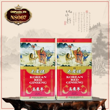 Hồng sâm khô nguyên củ hộp sắt cao cấp 150g (hộp số 15) Daedong NS067
