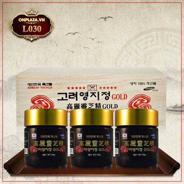 Cao Linh Chi Hàn Quốc cao cấp loại 3 lọ hộp gỗ Trắng Gold L030